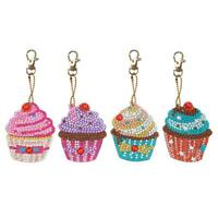 4pcs DIY Cupcake Full Drill Special Shaped Diamond Painting Keychains Gifts SS6
