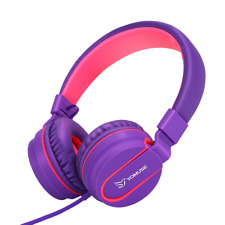 Yomuse Girls Kids On Ear Foldable Headphones for Samsung PC CD DVD Pink Purple