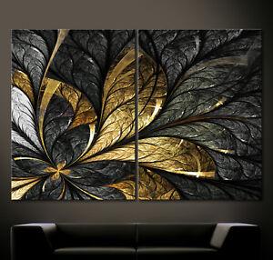 BLATTGOLD Abstrakt Leinwand Bild XXL Schwarz Weiß Gold Blatt Modern Wandbild 3D
