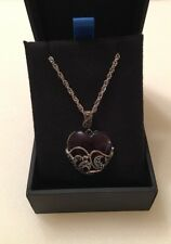 """Sterling Silver Marcasite and Gemstone-Colored Glass Heart Pendant Necklace-18"""""""