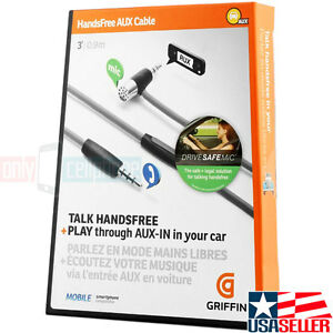 GRIFFIN Audio Hands-free Microphone AUX Cable Play Car Stereo for iPhone Galaxy