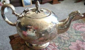 Vintage Etched Silverplate Tea Pot