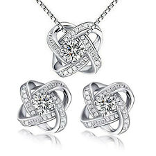 Damen Schmuckset Halskette Collier Ohrstecker Zirkonia 925 Silber plattiert 052