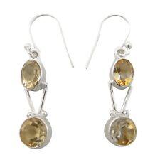 Citrine Stone Dangle Earring 925 Sterling Silver Buy Online Jewelry 3.45 Gm