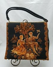 UNBRANDED VICTORIAN / COLONIAL  CLOTH & FAUX LEATHER SATCHEL BAG PURSE PU157