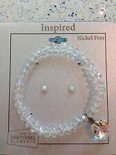 Inspired Nickel Free Swarovski Elements Bracelet And Earring Studs Jewelry New