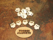 25x Natural wooden Owl shapes approx 28mm(h)x 25mm(w) Craft or embellishments