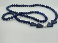 VINTAGE CARVED BOW SHAPE LAPIS LAZULI PENDANT & NECKLACE w/ PEARL & GOLD RING