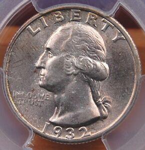 1932 S WASHINGTON QUARTER PCGS MS 62 VERY ORIGINAL PALE SILVERY BRONZE KEY DATE