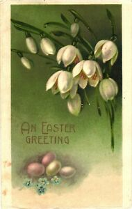 Blooming White Flowers And Eggs On A Nest, An Easter Greeting Postcard