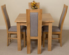 Small Square Oak Dining Table and 4 Fabric Stanford Chairs Oslo