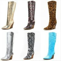 Size 35-44 Ladies Mid Calf High Heel Boots Pull On Leopard/Snakeskin Pattern New