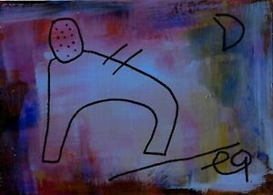 21022462 e9Art ACEO Minimalism Abstract Figurative Outsider Art Brut Painting