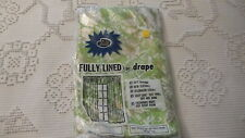 """Vintage Plastic Drapes, 3-Pc, White & Gold Floral on Lime Green, 36""""x87"""" Panels"""
