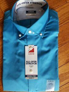 NWT IZOD Mens SKY BLUE All-Over Stretch Slim Fit LS Collar Shirt 15-15 1/2 32/33