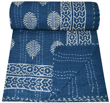 Indian Handmade Twin Cotton Kantha Quilt Throw Blanket Bedspread Hand Block