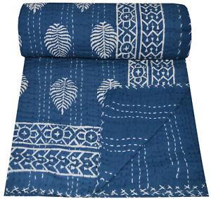Indian Handmade Twin Cotton Kantha Quilt Throw Blanket Bedspread Hand Block