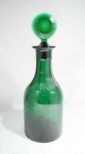 """ANTIQUE FRENCH GREEN GLASS DECANTER CUT GLASS 11.5"""""""
