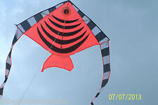 "Orange Angel Fish Delta Kite:46.5"" W X 90"" Overall L:Family Toy/Christmas Gift"