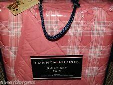 Tommy Hilfiger QUILT & SHAM Twin Set PRISTINE PLAID SALMON PINK Girl DORM NEW