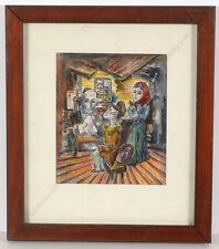 "Boris Deutsch (1892-1978) ""Shtetl family"", mixed media, 1967"