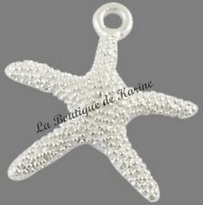 LOT 10 BRELOQUES ETOILE DE MER METAL ARGENTE - CREATION BIJOUX PERLES CHARMS