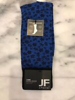 JF J.FERRAR Men's Dress Socks Distsy Floral Pattern Black Blue Size 10-13 NWT