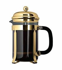 Café Ole 3 Cup Classic Coffee Maker Glass Cafetiere Gold Finish 350ml 0.35 Litre