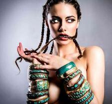 GAY ISBER Handcrafted Genuine Turquoise Carved Leaf Wooden Bangle Bracelet