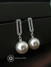 Concise Crystal w Pearl Drop Pendant//Wedding//Bridal//N122//E095