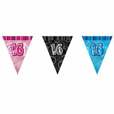 TRIANGLE FLAG BANNER Milestone Party BUNTING Decorations 9ft Glitz 13th-100th