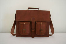 Mens Original Vintage Brown Leather Messenger Bag Shoulder Laptop Bag Briefcases