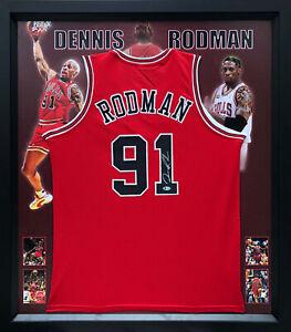 Dennis Rodman Hand Signed Chicago Bulls Basketball Jersey Framed Beckett US COA