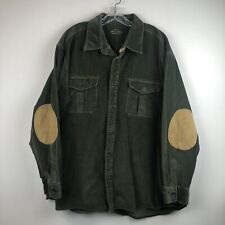 Orvis Signature Collection Olive Green Corduroy Shirt Sz XXL Tan Elbow Patches