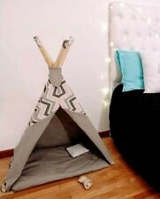Teepee dog cat  Tent bed -  tent  REVERSIBLE - washable - includes pillow