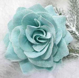 10cm CLIP ON or 18cm CHRISTMAS TREE ROSE FLOWER DECORATION DUCK EGG BLUE SPARKLE