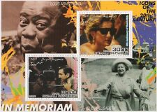 ICONS PRINCESS DIANA QEII WALT DISNEY LOUIS ARMSTRONG 2001 MNH STAMP SHEETLET