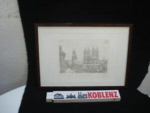 """antiker Stich Burg """"Die Maus"""" am Rhein_um 1850_von Winkles nach Frommel_gerahmt"""