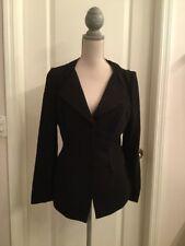 PRADA Black Wool 3 Button Pleated Collar Dress Suit Blazer Jacket Size 10