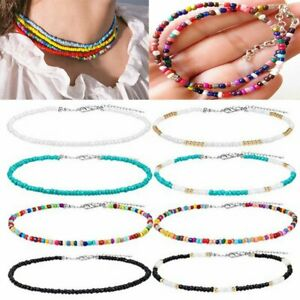 Colorful Seed Bead String Beaded Clavicle Chain Necklace Choker Boho Women Gift