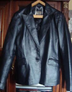 Veste cuir noir vintage coupe tailleur masculin féminin Casual woman 40