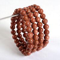 8MM Natural Golden Sand Stone Round Beads Stretch Bangle Chain Bracelet Handmade