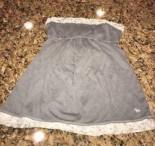 Abercrombie Kids Girls Gray White Floral Flower M Tube Strapless Tank Top