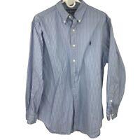 Polo Ralph Lauren Button Down Blue Striped Dress Shirt Mens Size 16 - 32/33