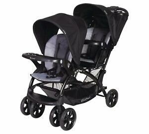 Baby Trend Sit n Stand Double Stroller Infant Toddler Boy Buggy Black