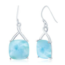 Sterling Silver High Polish Natural Larimar Four-Prong Square Dangle Earrings