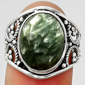 Natural Russian Seraphinite 925 Sterling Silver Ring s.7.5 Jewelry 5176