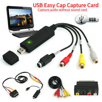 VHS VCR to Digital Converter USB 2.0 Video Capture Card for XP Vista Win 7/8/10