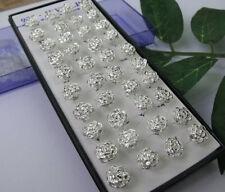 Lot 40pcs/box 925 Silver Crystal Rose Flower Ear Stud Earrings Women's Jewelry
