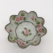 Nippon Hand Painted Berry Nut Bowl Scalloped Edge Footed